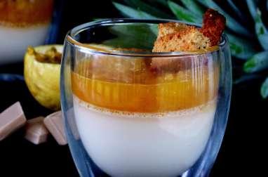 Panna cotta au chocolat chabin, compotée ananas et passion