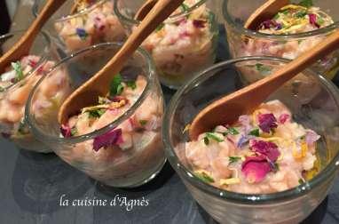 verrines de tartare de saumon à la coriandre