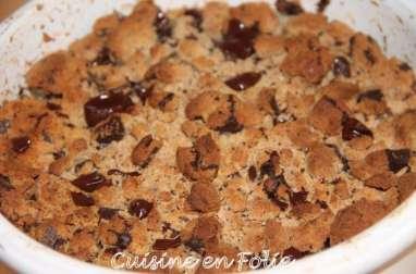 Crumble poire-chocolat à la farine de châtaigne