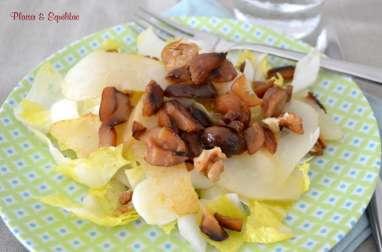 Salade d'endives aux poires, châtaignes et noix