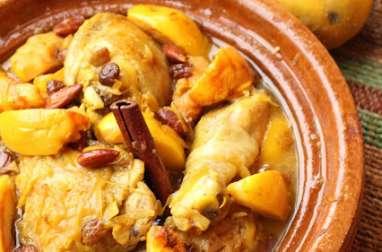 Tajine de poulet aux coings et aux amandes