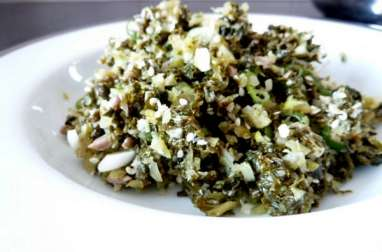 Salade chou kale cébettes aux graines