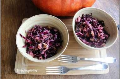 Salade de chou rouge aux pommes , noix et raisins secs