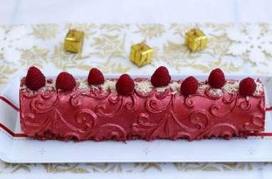 Bûche façon cheesecake au chocolat blanc et framboises