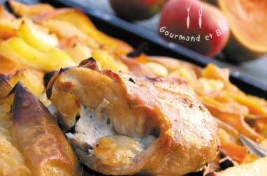 Lapin rôti, butternut - pommes confites et gâteau pomme-châtaigne