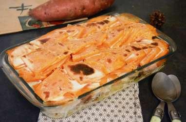 Gratin de pommes de terre, patate douce et morue