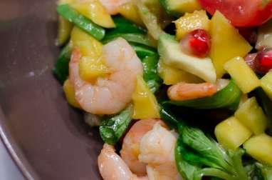 Salade d'hiver aux crevettes, à l'avocat et à la mangue