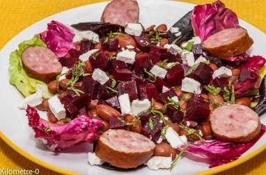 Salade de haricots borlotti aux betteraves et à la fêta