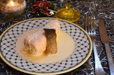 Ballotine de saumon, face fine aux crevettes