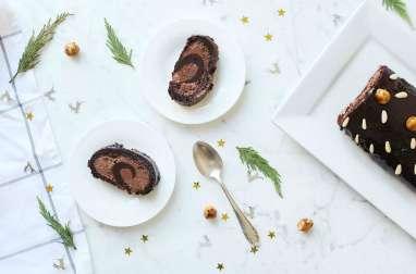 Bûche tout chocolat aux noisettes caramélisées