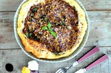 Tarte aux 3 choux-fleurs colorés avec de la mozzarella