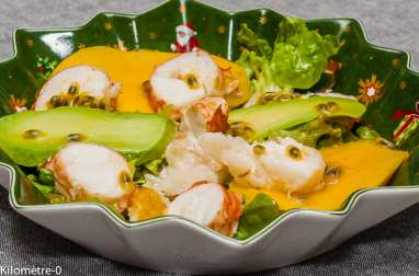 Salade de langouste, mangue, avocat et fruit de la passion