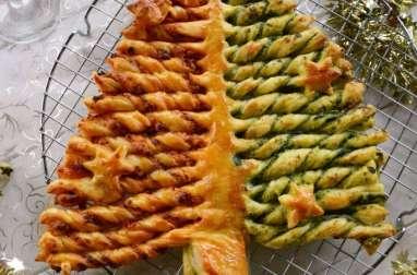 Sapin feuilleté au chorizo et pesto d'épinards