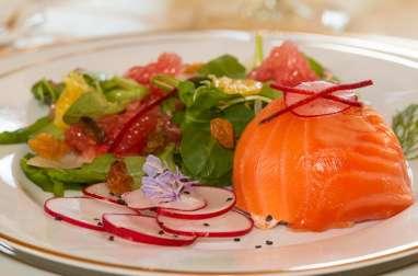Dômes aux deux saumons, salade de fenouil aux agrumes à l'huile d'Argan
