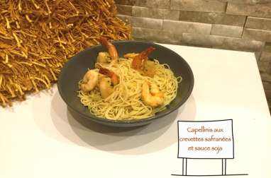 Capellinis aux crevettes safranées et sauce soja