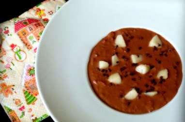 Riz au lait au chocolat et dés de poire
