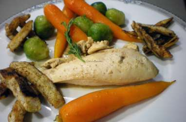 Suprême de volaille aux petits légumes glacés