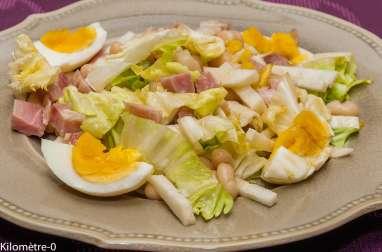 Salade de haricots blancs au jambon, oeufs et radis noir