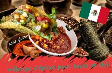 Mélange d'épices pour tacos, chili con carne