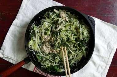 Poêlée indienne de kale et de chou blanc