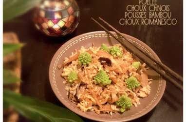 Poêlée choux Chinois, pousses bambou et choux Romanesco