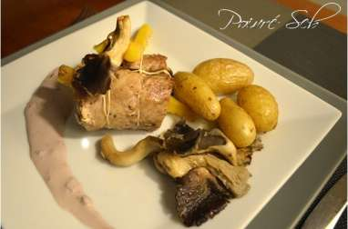 Filet mignon farci aux pleurotes et carottes jaunes à la sauce Bordelaise