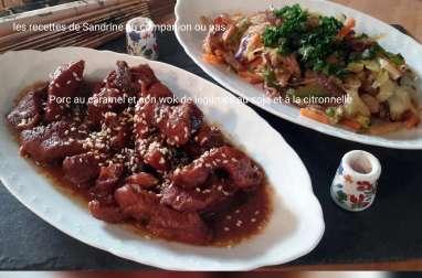 Porc au caramel et son wok de légumes croquants au soja et citronnelle