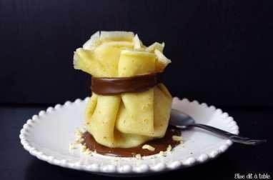 Aumônière de crêpe poire et chocolat