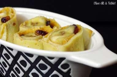 Crêpes de bananes et raisins flambées au rhum