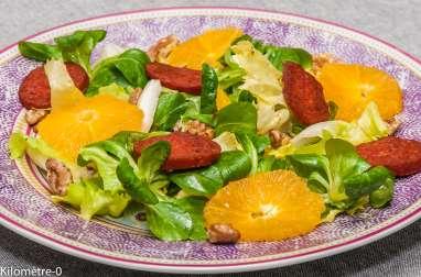 Salade au chorizo, orange et noix