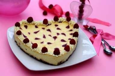 Cheesecake au chocolat blanc et framboises pour la St-Valentin