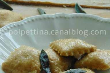 Raviolis à la farine de farro, farce citrouille et ricotta
