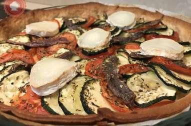 Tarte salée courgettes tomates anchois et chèvre