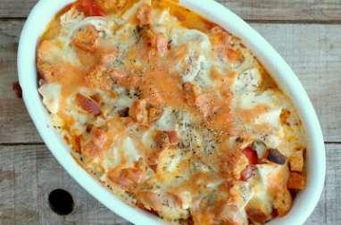 Gratin de poulet et de tomates à la mozzarella et au romarin