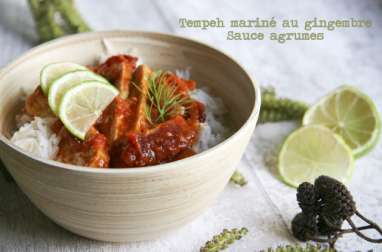 Tempeh mariné au gingembre, sauce agrumes