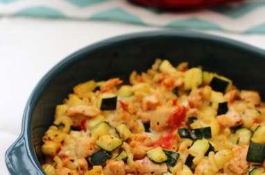 Grâtin de pâtes, poulet et légumes à la cancoillotte