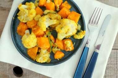 Poêlée de chou-fleur et patates douces au miel et au curry