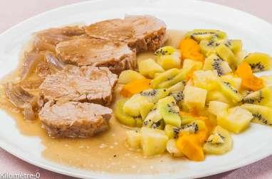 Filet de porc aux kiwis, ananas et mangue