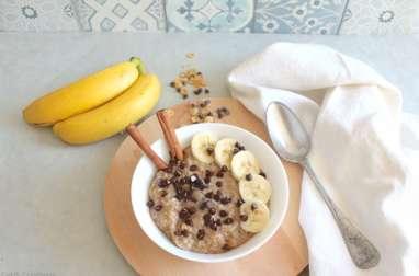 Porridge banane chocolat