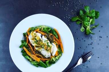 Salade de lentilles et cabillaud tiède vinaigrette au curry