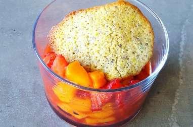 Tartare fraise-mangue à la vanille et au citron vert, tuile pistache