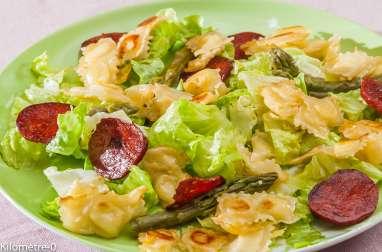 Salade de ravioles au chorizo et asperges vertes