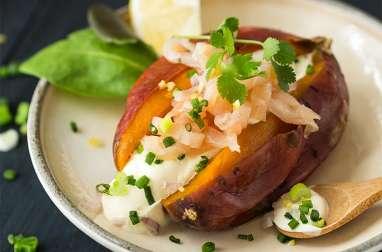 Patate douce en robe des champs au saumon fumé sauvage