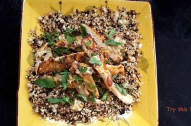 Salade de couscous de chou-fleur et poulet au dukkah