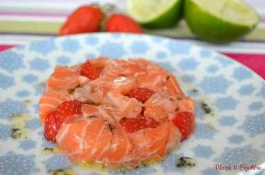Tartare de saumon aux fraises et à la vanille