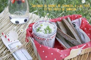 Tartinade de graines de tournesol à l'aïl vert et ses frites de sarrasin