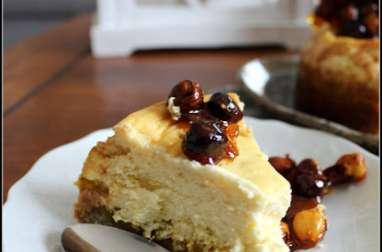 Cheesecake limousin pommes au safran et au miel d'acacia, noisettes caramélisées
