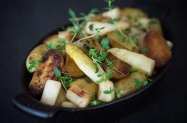 Poêlée de pommes de terre ratte et asperges d'Alsace