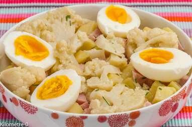 Salade de pomme de terre au chou fleur et au jambon
