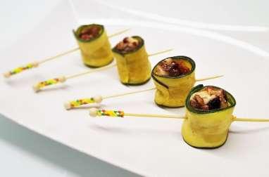 Rouleaux de courgette au Neufchâtel, mendiant de fruits secs